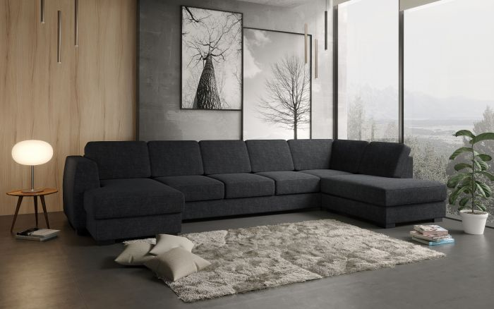 Risør D4A U-sofa med sjeselong - antrasitt