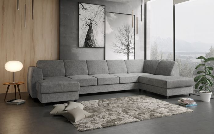 Risør D4A U-sofa med sjeselong - lys grå