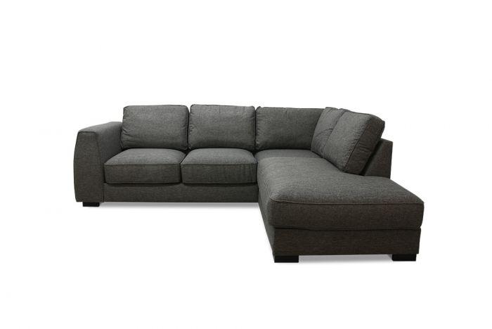 Risør 2A sofa med sjeselong - mørk grå