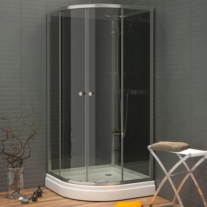 Waterlux silikonfri dusjkabinett buet 90x90 lav høyde 180 cm grå