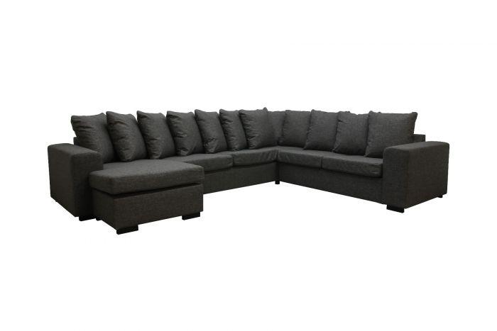 Svolvær D3C2 U-sofa med sjeselong - mørk grå