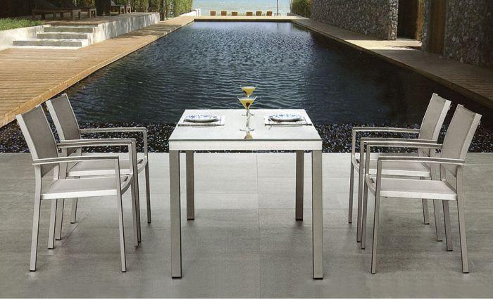 Torino - Spisegruppe m/bord og 4 stoler i aluminium