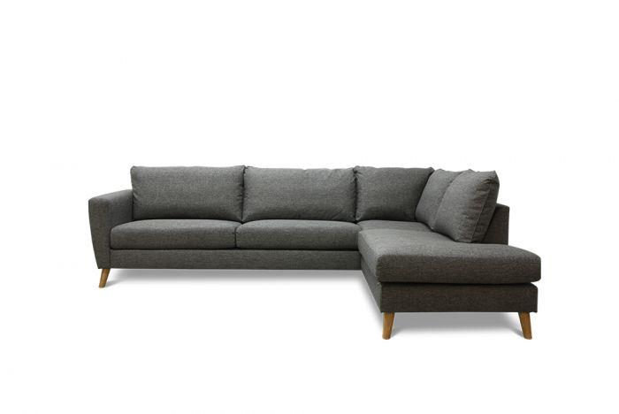 Kragerø 3A sofa med sjeselong - mørk grå