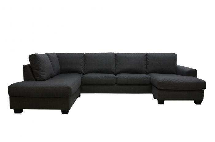Namsos A3D U-sofa med sjeselong - antrasitt