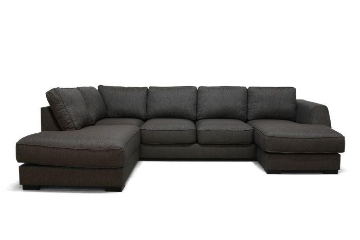 Risør A3D U-sofa med sjeselong - brun