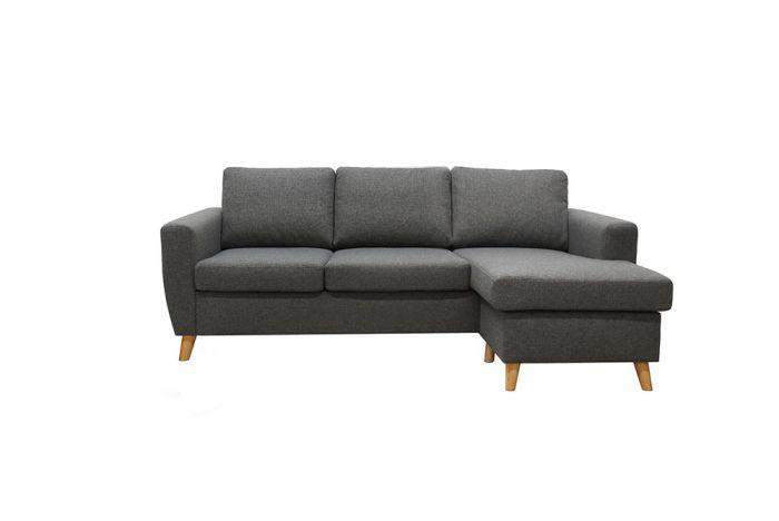 Arendal 3D/D3 sofa med sjeselong - lys grå