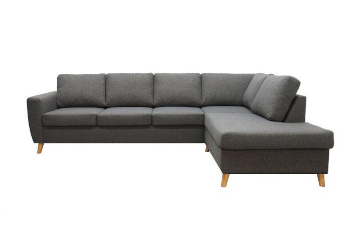 Arendal 3A sofa med sjeselong - mørk grå