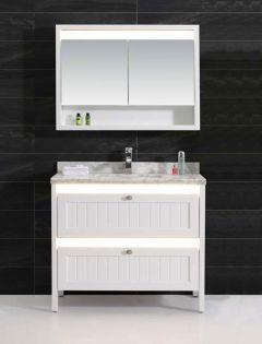 Florø 100 cm baderomsmøbel m/marmorvask og speilskap