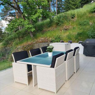 Rottingmøbler i hvit design med svarte puter. Seks stoler som står på en terrasse med glass gjerde. Det er en putekasse og en gassgrill i bakgrunnen. Det er blomster i et bed og på bordet som har en frostet glassplate. SparMax