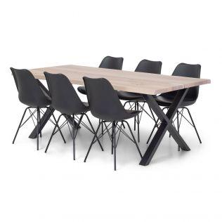 Odin spisegruppe 200 cm i hvit eik (delt) med X-bein + 6 Adam stoler i sort