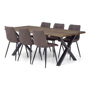 Odin spisegruppe 200 cm i røykfarget eik med X-bein + 6 Edvard stoler i fargen brun