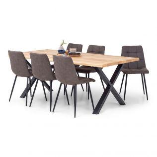 Odin spisegruppe 200 cm i natur eik med X-bein + 6 Edvard stoler i fargen brun