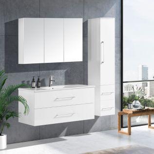 LindaDesign 120 cm baderomsmøbel single hvit høyglans