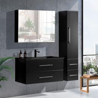 LindaDesign 100 cm baderomsmøbel i sort matt m/sort servant