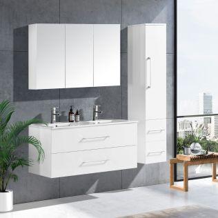 LindaDesign 120 cm baderomsmøbel dobbel hvit matt