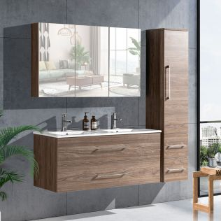LindaDesign 120 cm baderomsmøbel dobbel grå alm