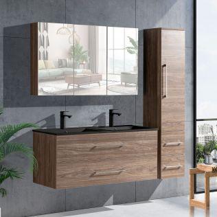 LindaDesign 120 cm baderomsmøbel dobbel i grå alm m/sort servant
