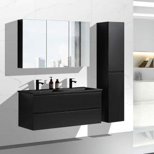 NoraDesign 120 cm baderomsmøbel dobbel sort matt m/sort servant