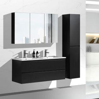 NoraDesign 120 cm baderomsmøbel dobbel sort matt