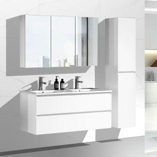 NoraDesign 120 cm baderomsmøbel dobbel hvit matt