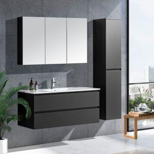 NoraDesign 120 cm baderomsmøbel single grå matt
