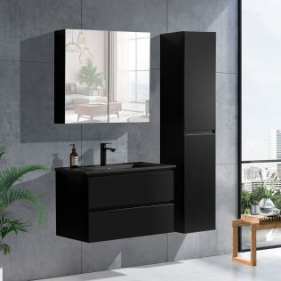 NoraDesign 80 cm baderomsmøbel i sort matt m/sort servant