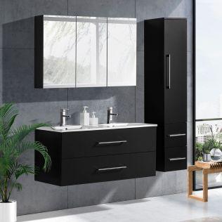 LindaDesign 120 cm baderomsmøbel dobbel sort matt