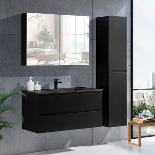 NoraDesign 100 cm baderomsmøbel i sort matt m/sort servant