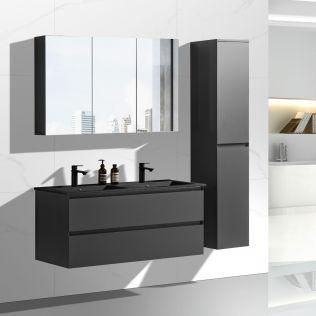 NoraDesign 120 cm baderomsmøbel dobbel grå matt m/sort servant
