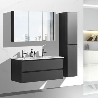 NoraDesign 120 cm baderomsmøbel dobbel grå matt