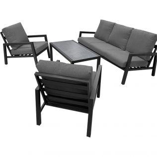 Jamaica loungegruppe m/bord, 3-seter og 2 stoler i aluminium